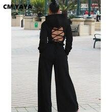 CM.YAYA-Conjunto de ropa deportiva para mujer, con capucha y Top corto Pantalones rectos, chándal Sexy para fiesta y Club, conjunto de dos piezas para Fitness