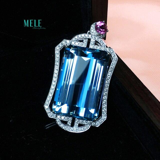 Piedra principal aguamarina Natural colgante de plata 56ct 925 personalidad Retro moda collar clásico 1