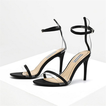 JIANBUDAN Transparent sexy High heel sandals Women summer party sandals Thin Heels Peep Toe pumps Cover Heel Ankle buckle shoes ladies transparent square high heel sandals sexy peep toe mesh ankle boots summer high heels sandals women size 34 40