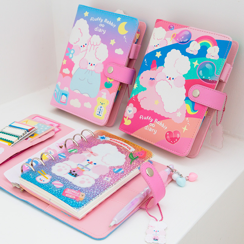 A6 <font><b>Kawaii</b></font> Journal <font><b>Notebook</b></font> <font><b>Diary</b></font> Loose-leaf Planner Weekly Ring Binder Planner Agenda <font><b>Diary</b></font> Rabbit <font><b>Notebook</b></font> Sticker Pockets image