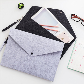 1pc Simple Solid A4 Felt File Bag Large Capacity Business Document Briefcase Tablet Organizer Filing Products Stationery Storage a4 folder for documents simple solid black color leather document paper bag business briefcase filing products storage organizer