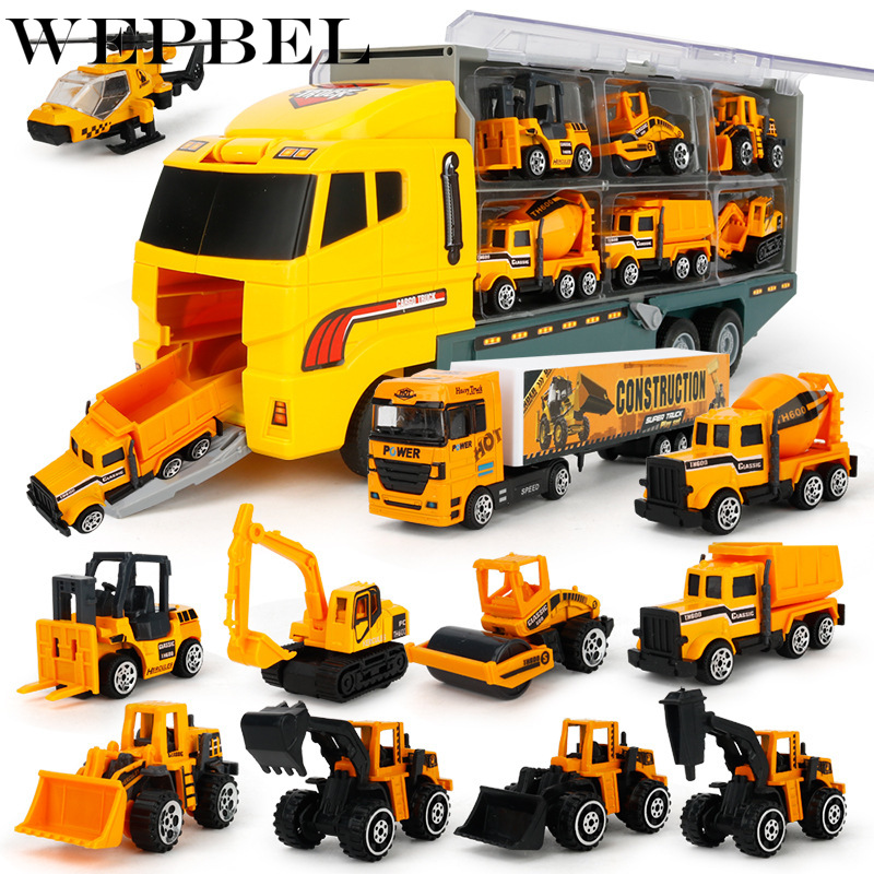 WEPBEL 11 In 1 Die-cast Construction Truck Vehicle Car Toy Set Play Vehicles In Carrier Truck