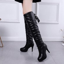 2019 New Shoes Women Boots Black Over the Knee Boots Sexy Female Autumn Winter lady Thigh High Boots botas mujer 2018 new shoes women boots black over the knee boots sexy female autumn winter lady elastic mesh thigh high boots size 35 39