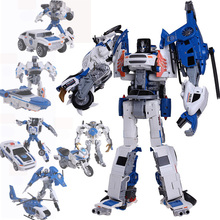 5 In 1 Assembly Transformation Robots Toys Kids Gifts Deformation Dinobot Combiner Vehicle Models