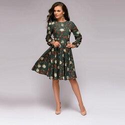 Women Floral Print a Line Dress Long Sleeve Casual Women Christmas Dress 2019 Autumn Club Party Elegant Fashion Women Dress 5