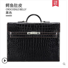 gete New hand-made crocodile skin belly bag for man handbag leather business import briefcase