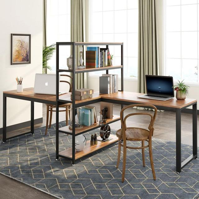 Two Person Computer Desk with Bookshelf 2