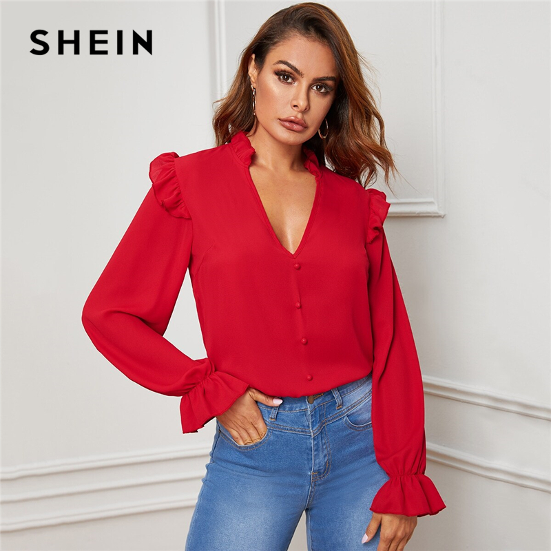 SHEIN Red Ruffle Trim Buttoned Front V Neck Blouse Top Women Spring Autumn Sheer Blouses Flounce Long Sleeve Solid Elegant Tops