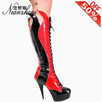 Classics Big Size Gothic Punk Cross Dressing Nightclub Knee Boots Stiletto Heels Patchwork Lace Up Round Toe Sexy Shoes 6 Inch