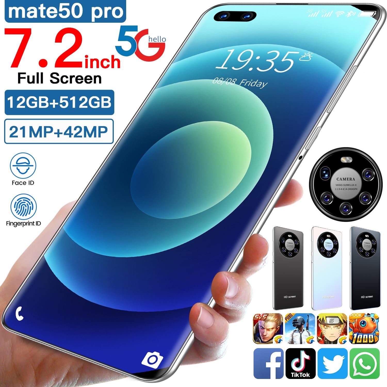 2021 новейший смартфон Коврики 50 Pro 12 Гб оперативной памяти 512 Гб Rom Dual SIM разблокировать смартфон Android 10,0 Deca Core, размер экрана 4G/5G мобильных теле...