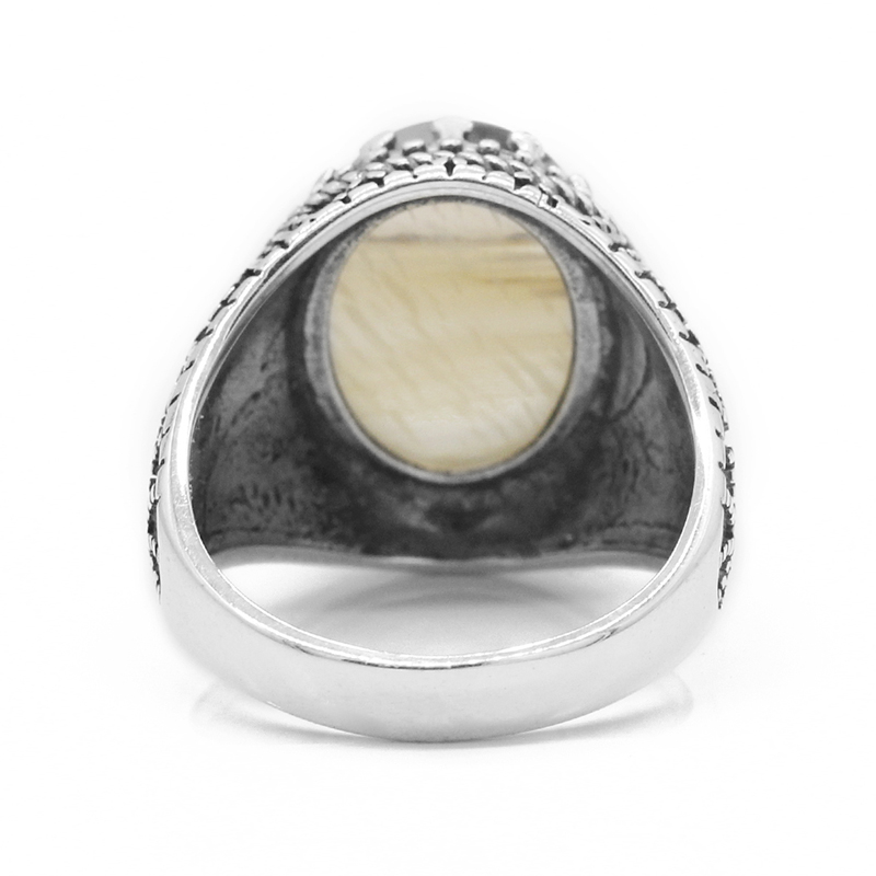 Image 5 - Real 925 Sterling Silver Vintage Thai Silver Men Ring with Big  Natural Onyx Stone Ring for Male Women Fashion JewelryRings   -