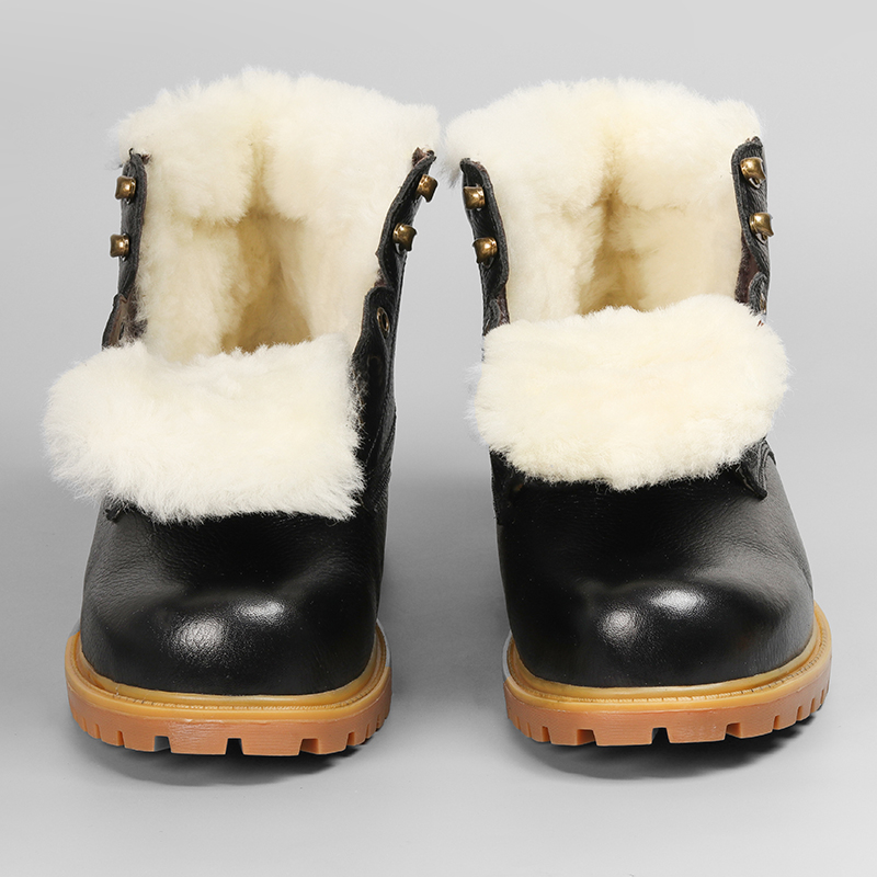 Natural Wool Boots Winte Size 36~48 Warmest Natural Leather Handmade Shoes Men Winter #CX5086YM-in Snow Boots from Shoes    1