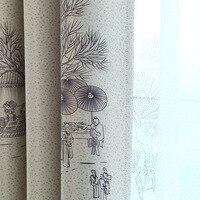 Qingming shanghe cortinas de tinta chinesa  cortinas para quarto e sala de estudo