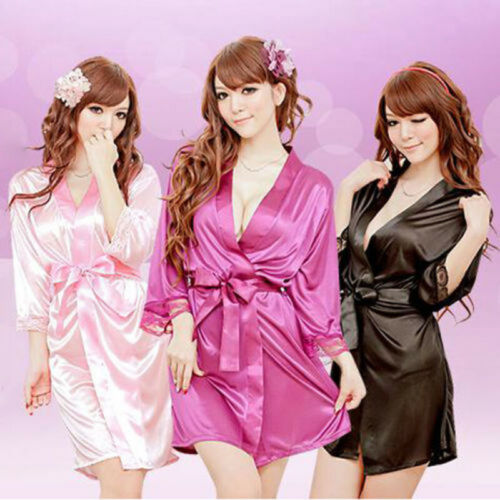 Hot Women Sexy Solid Faux Satin Lace Silk Bandage Sleepwear Robe Underwear Lingerie Mini Nightdress Clothes