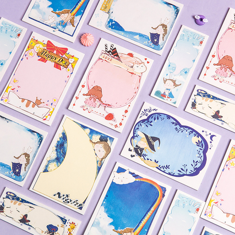 Cute Magic Cat Paste Memo Pad Planner Sticky Note Paper Sticker Kawaii Stationery Pepalaria Office