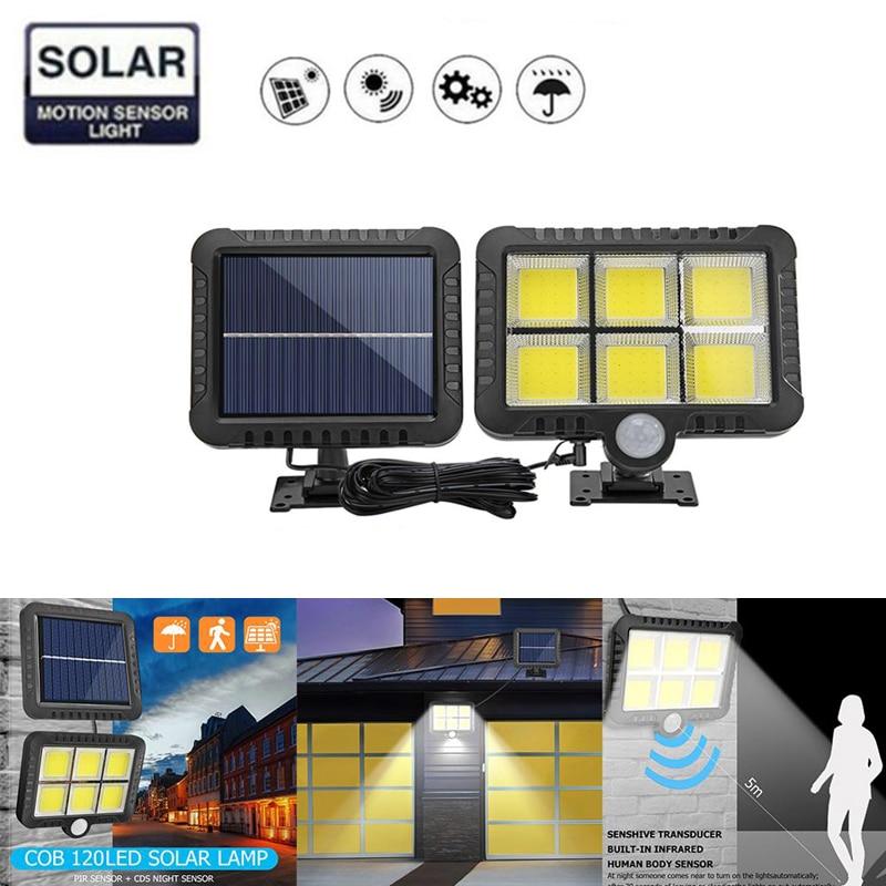 120 COB LEDs Solar Light Wall Lamp With PIR Motion Sensor Lamp Outdoors IP65 Waterproof Energy Saving Garden Security Lamp