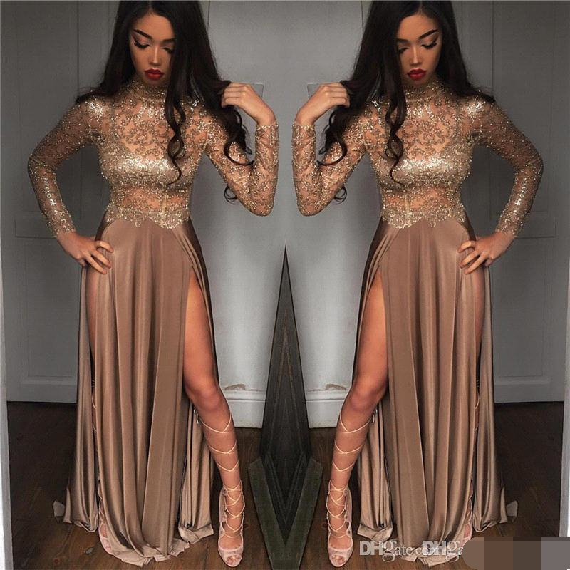 2019 African Gorgeous Beaded Champagne Sequined Evening Dresses Long Sleeves Prom Gowns Vestidos Special Occasion Evening Dress