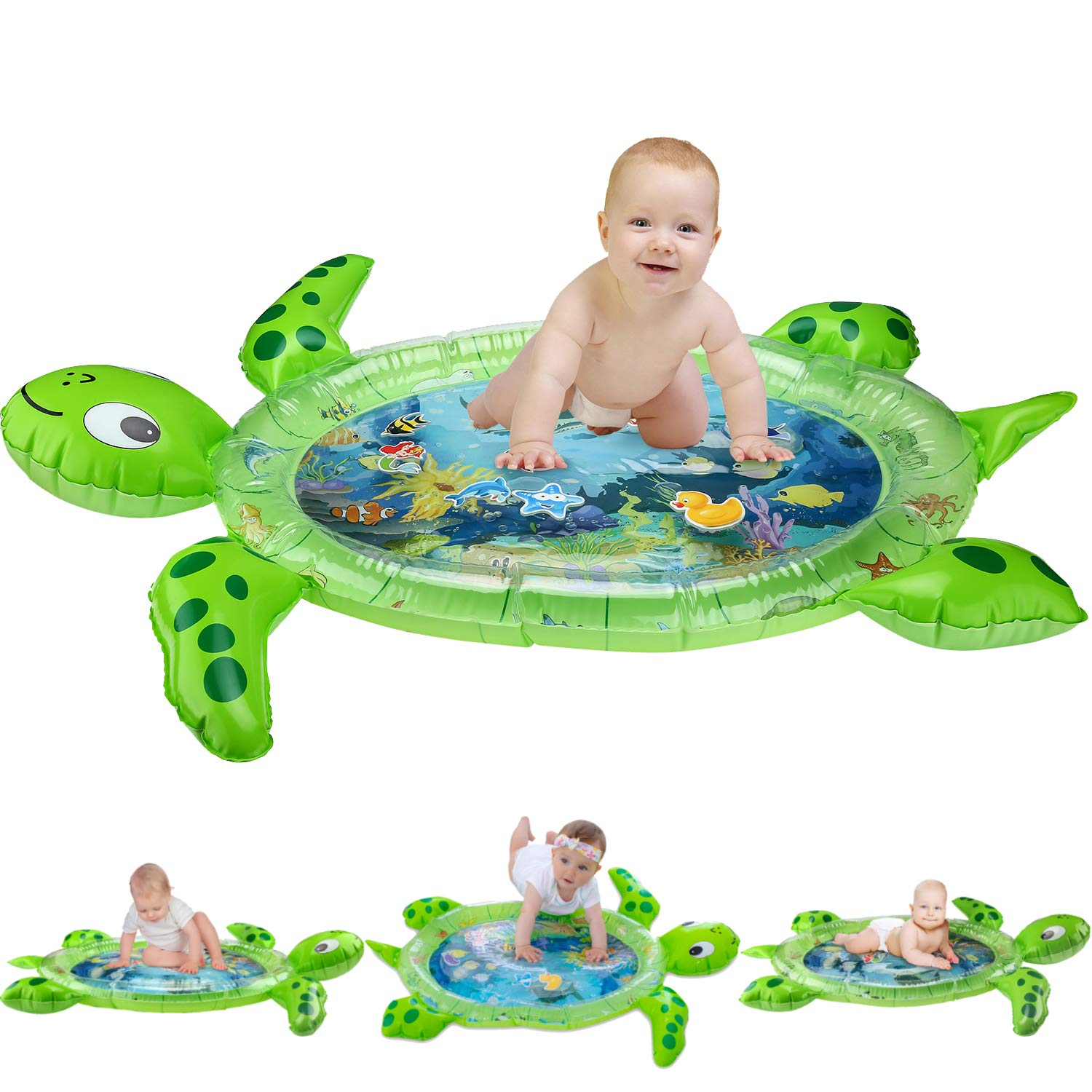 Cartoon Baby Play Mat Turtle Baby Pat Mat Water Spray Pad Inflatable Tummy Time Water Mat Sea Infants Toddlers Play Mat Toy