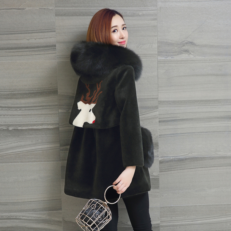 Autumn Winter Coat Women Clothes 2020 Fox Fur Hooded Wool Jacket Real Fur Coat Sheep Shearling Korean Tops Suede Lining ZT3665