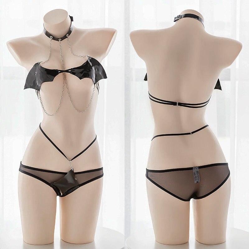 Sexy Little Devil Wings Chain Bondage Underwear Japanese Girls Cosplay Bikini Darksome Lolita Girl Intimates Bra Panty Set