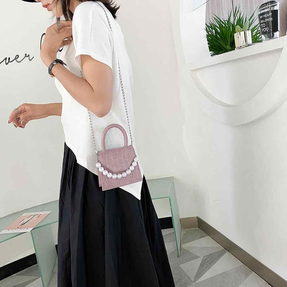 Oeak Perle Griff Super mini Design PU Leder Schulter Taschen Für Frauen 2020 Stein Muster Crossbody-tasche Weibliche Reise Handtaschen