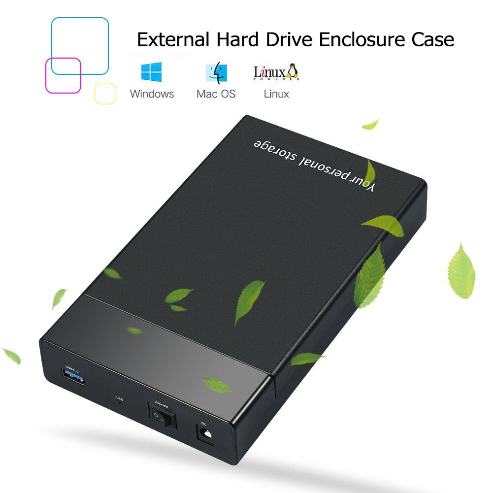 EU/US/UK Plug USB 3.0 to 3.5 inch SATA III 5Gbps External Hard Drive Disk Ehclosure Box Support 10TB 2.5 3.5 HD SSD Case