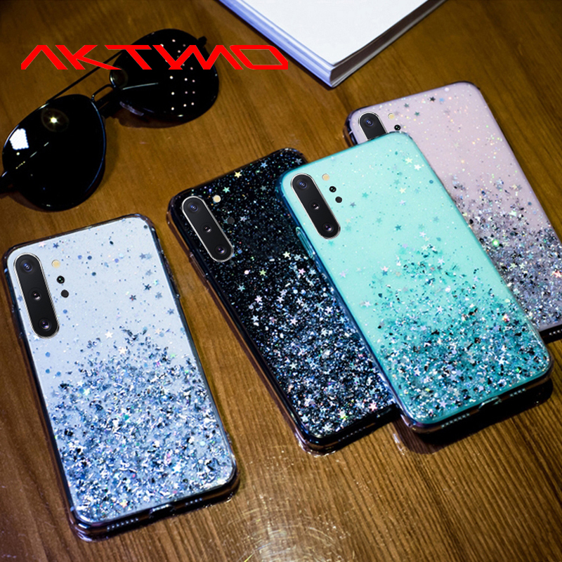 Bling Glitter Star Cover For Samsung Galaxy A10 A10S A20 A20S A20E A30 A30S A40 A40S A50 A50S S8 S9 S10 S20 Plus A9 A7 2018 Case(China)