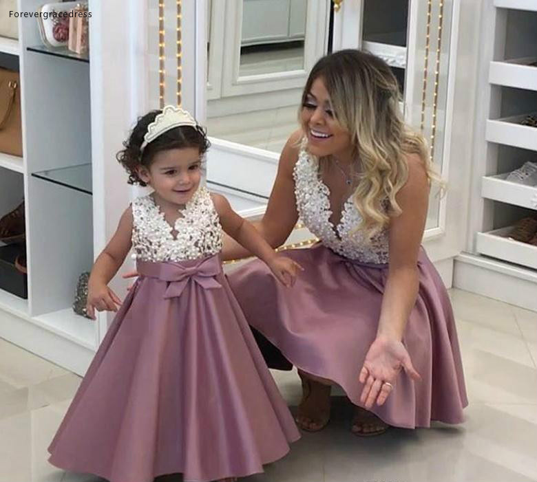 2019 Princess Cheap Lovely Cute   Flower     Girl     Dresses   Satin Mother and Daughter Toddler Long Kids First Holy Communion   Dress