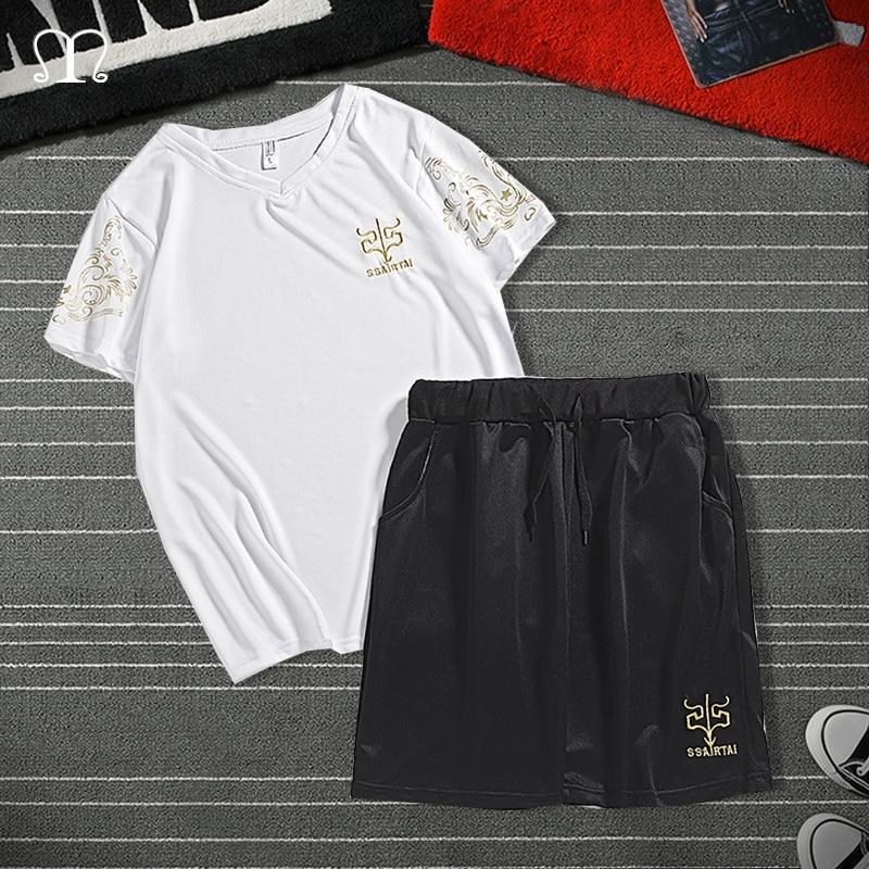 2020 Men Shorts Set Fashion Two PCS Sweatsuit Short Sleeve T-shirt Shorts Male Casual Sportswear Tracksuit Summer Track Suit 4XL