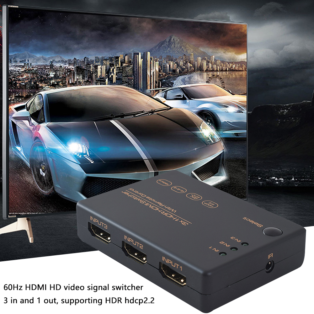 4K 60Hz HDR Switcher Home Audio 3 In 1 Out HDTV HDPC2.2 18Gbps Wide Range With HDMI Cable Computer Video Splitter Ultra HD