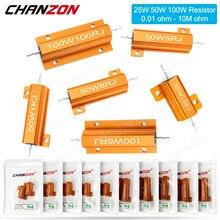 2 pces 25w 50w 100w alumínio caixa de metal de alta potência resistores fixos wirewound 0.01-10k ohm manequim carga fio resistência à ferida 1k