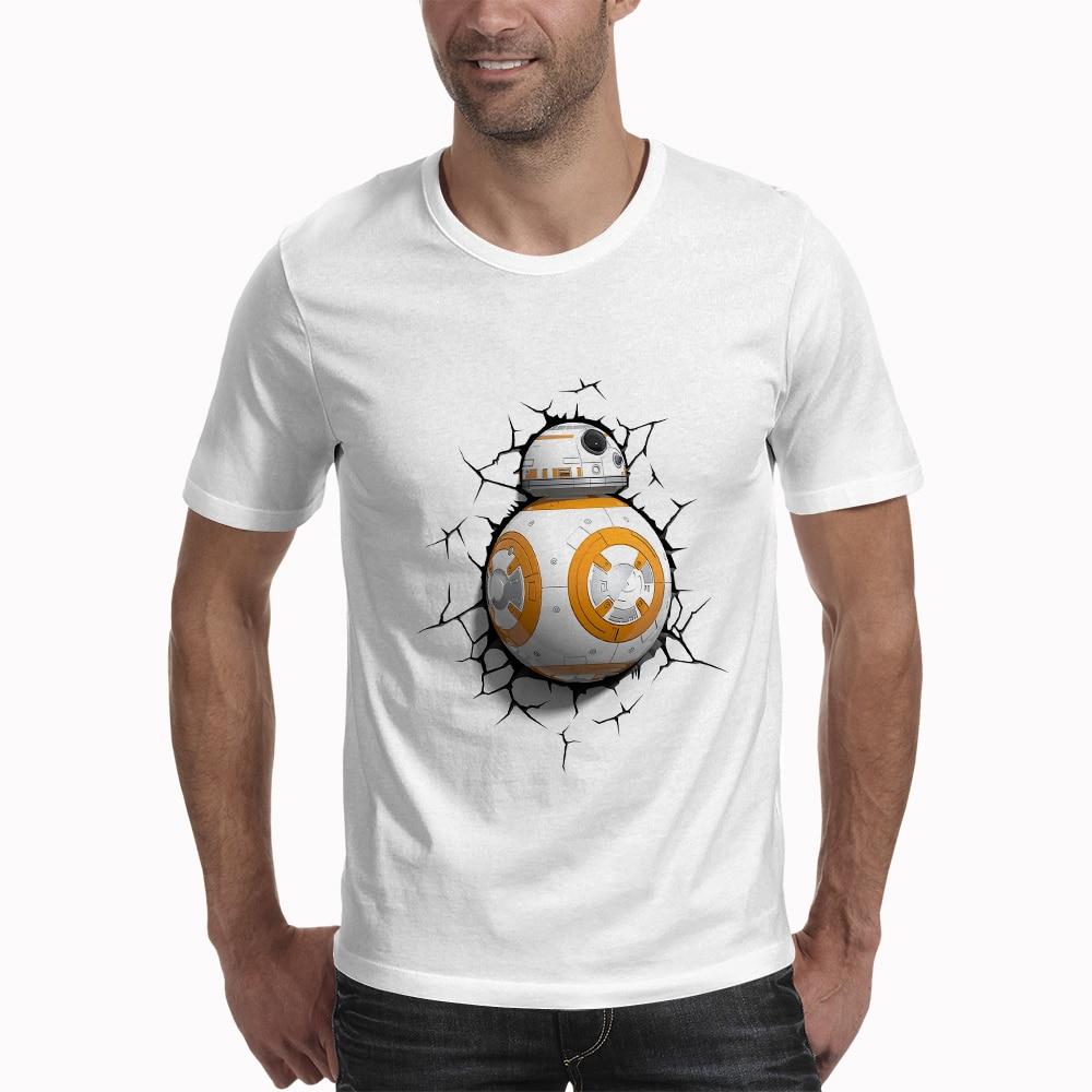 Men Star Wars BB 8 Robot Printing Designer Funny T Shirts Short Sleeve Tee Creative Fashion Star Wars T-shirts Hip Hop Tops