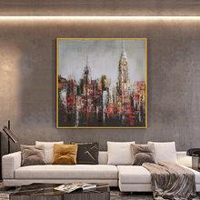 Большая городская картина здания 100% ручная роспись маслом