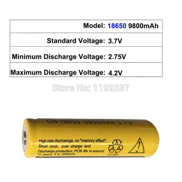 10 pièces 18650 batterie 3.7V 9800mAh Rechargeable li-ion pour lampe de poche Led batterie batterie