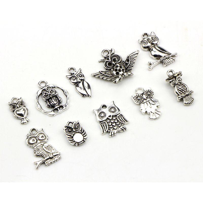 30 pièces fait à la main bracelet à bricoler soi-même collier accessoires hibou forme pendentif ensemble antique argent bijoux décoration