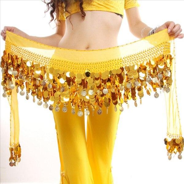 2020 venda quente feminino novo traje de dança do ventre hip cachecol envoltório lantejoulas cinto moedas chiffon saia quente