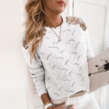 Autumn Sweater for Women 2020 New Casual Lace Long Sleeve O-Neck Knitted Pullovers Women Solid Spring Top Hollow Sweater D30 new arrival casual spring autumn loose sweater pullovers women long sleeve patchwork knit top female o neck geometric sweater