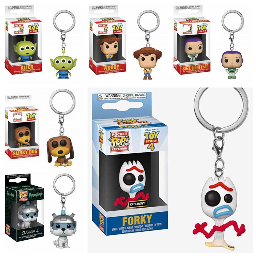 Funko POP Toy Story 4 Forky Slinky Dog Woody Buzz Lightyear Alien Keychain Action Figure Collection Model Toys For Children Gift