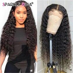 13х4 глубокая волна кружева фронта человеческих волос парики предварительно сорванные бразильские кружева фронта парик 150% плотность челове...