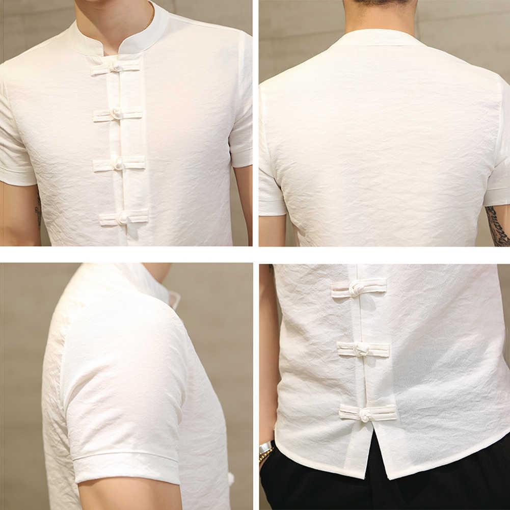 중국어 번체 당나라 정장 남자 플러스 사이즈 여름 짧은 소매 쿵푸 유니폼 짧은 소매 면화 당나라 정장
