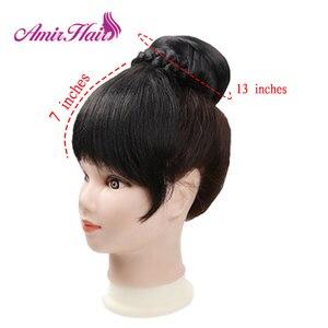 Image 2 - Amir syntetyczne bułeczki do włosów z grzywką Clip in Chignons włókno termoodporne czarne bordowe kolory włosy kucyk dla kobiet