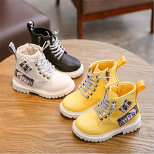 NEW 2019 Girls Leather Boots Boys Warm Shoes Spring Autumn  Leather Children Boots Fashion Toddler Kids Boots Warm Winter Boots
