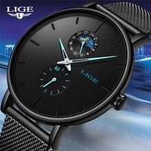 LIGE ساعة كوارتز الرجال عادية الأسود مقاوم للماء ساعة الفولاذ المقاوم للصدأ رقيقة جدا الذكور ساعة 24 ساعة ساعة 2019 Relogios Masculino