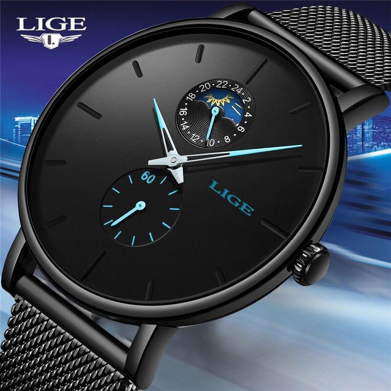 Reloj de cuarzo LIGE para hombre Casual negro impermeable reloj de acero inoxidable ultradelgado reloj de 24 Horas Reloj 2019 reloj Masculino-in Relojes de cuarzo from Relojes de pulsera    1