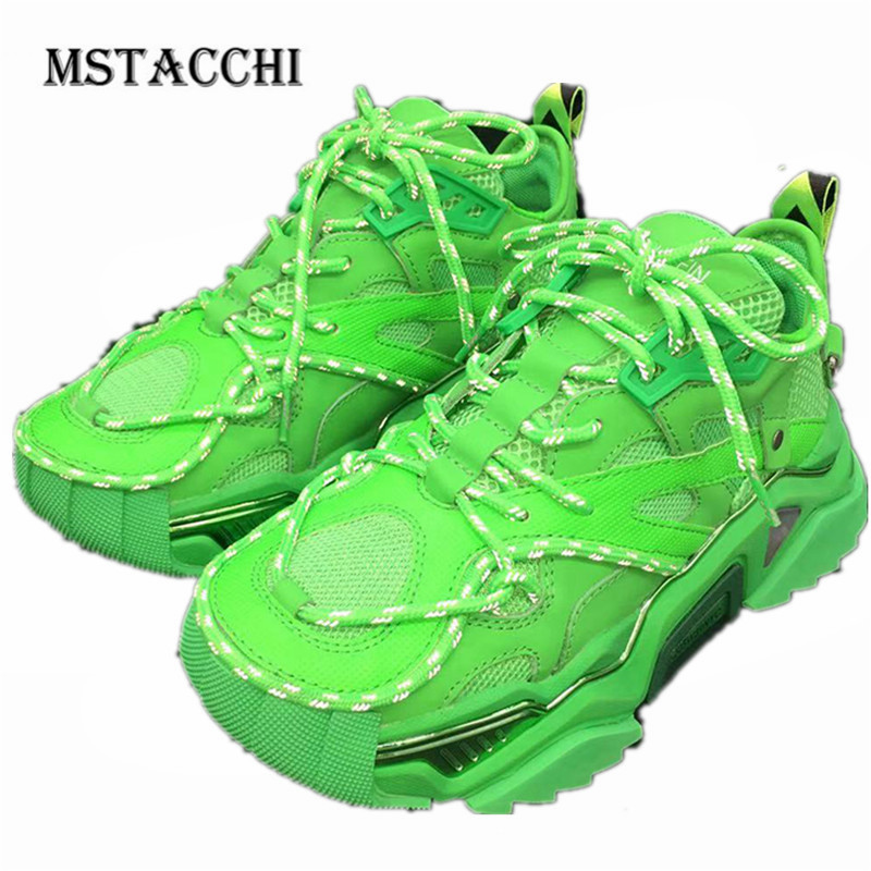 MStacchi 2020 Fashion Genuine Leather Men Sneakers Mesh Breathable Platform Lace-Up Dad Shoes Outdoor Comfortable Male Footwear