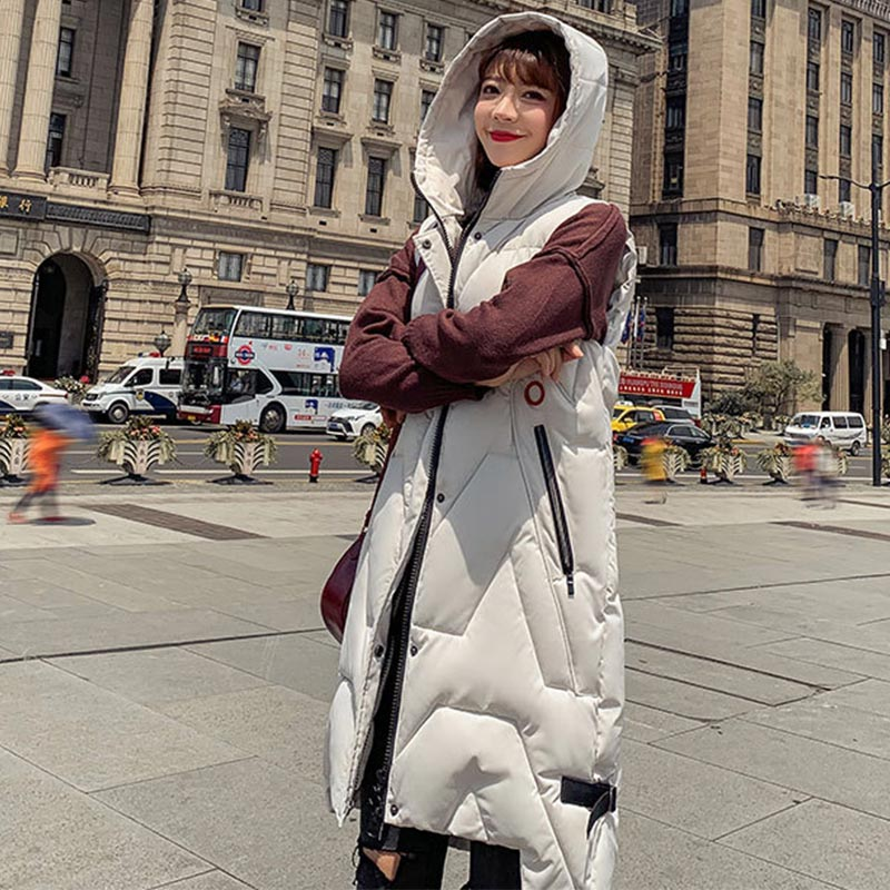 Winter Long Vest For Women Down Cotton Padded Coat Sleeveless Hooded Outwear Female 2019 Autumn Korean Style Warm Waistcoat Lady