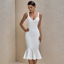 Ocstrade White Bandage Dress 2020 New Arrival Summer Sexy Women Mermaid Bandage Dress Bodycon Celebrity Evening Party Club Dress
