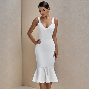 Ocstrade White Bandage Dress 2020 New Arrival Summer Sexy Women Mermaid Bodycon Celebrity Evening Party Club