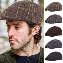 Мужская Зимняя кепка в сетку, кепка пекаря для мальчика, Кепка с козырьком, кепка с узором в елочку, плоская кепка, кепка Женская, Sombrero Mujer# D