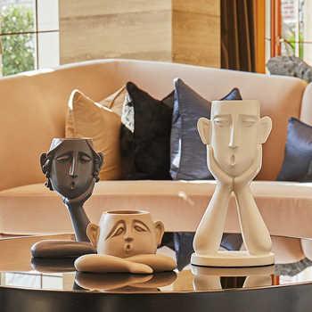 Abstrait figure décoration résine pot de fleur moderne Vase décorations pour la maison TV armoire porche salon artisanat ameublement